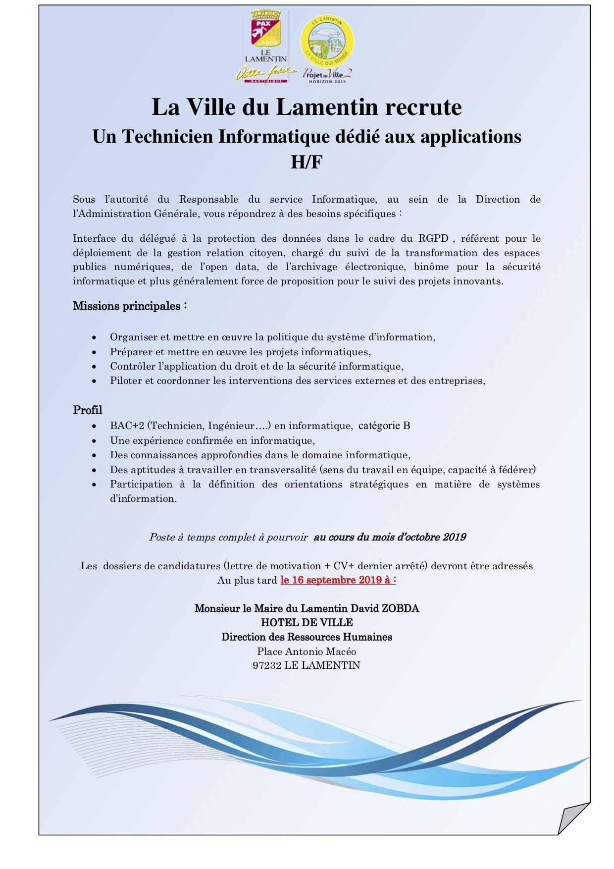La Ville du Lamentin recrute Un Technicien Informatique dédié aux applications H/F