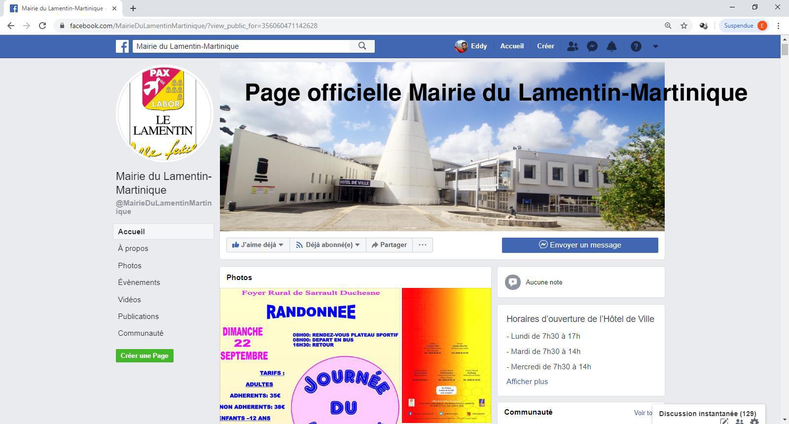 Alerte à la page Facebook frauduleuse Mairie Du Lamentin